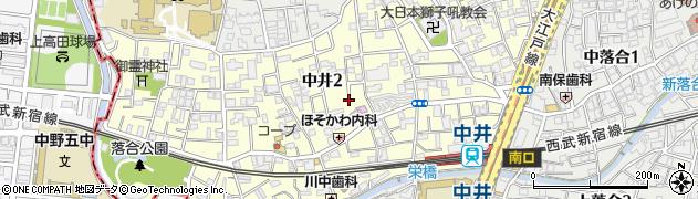 東京都新宿区中井周辺の地図