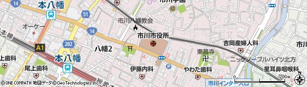 千葉県市川市周辺の地図