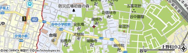 東京都台東区谷中周辺の地図
