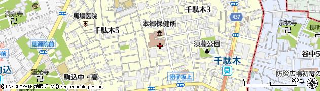 東京都文京区千駄木周辺の地図