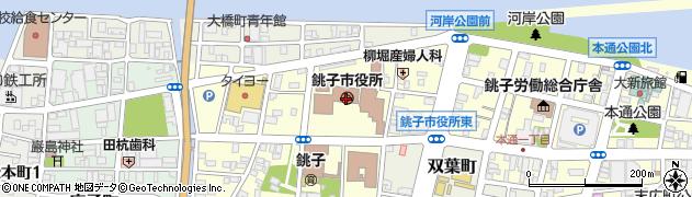 千葉県銚子市周辺の地図