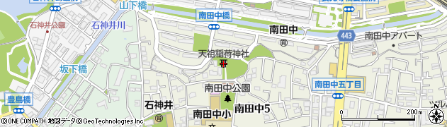 南田中稲荷天祖神社周辺の地図