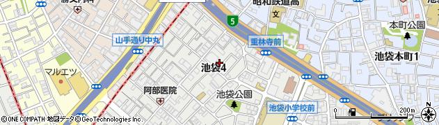 東京都豊島区池袋4丁目周辺の地図