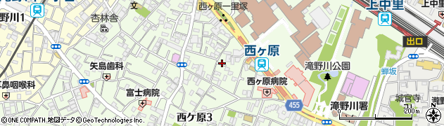 東京都北区西ケ原周辺の地図