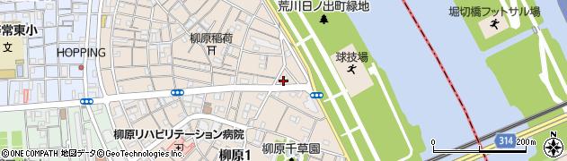 東京都足立区柳原周辺の地図