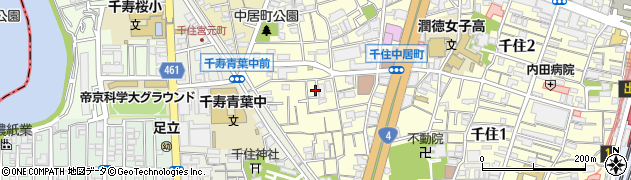 東京都足立区千住中居町周辺の地図