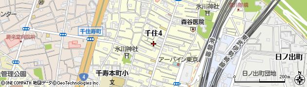 東京都足立区千住周辺の地図