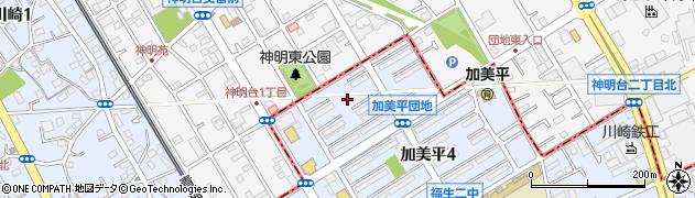 福生加美平団地周辺の地図