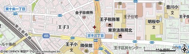 東京都北区王子周辺の地図