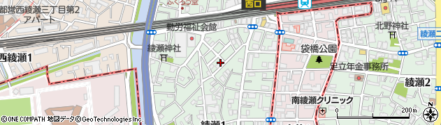 東京都足立区綾瀬周辺の地図