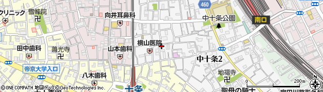 東京都北区中十条2丁目周辺の地図