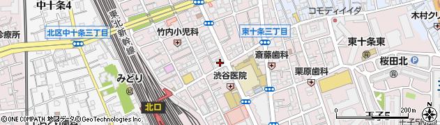 東京都北区東十条周辺の地図