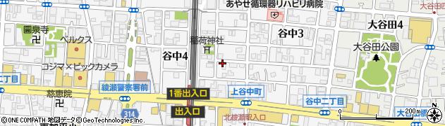 東京都足立区谷中周辺の地図