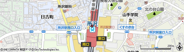 埼玉県所沢市周辺の地図
