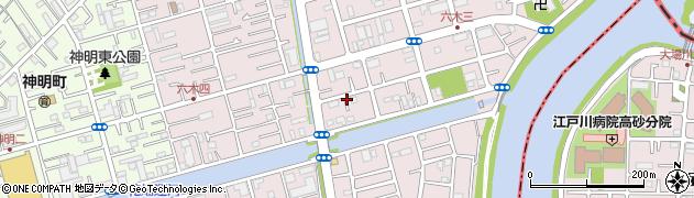 東京都足立区六木周辺の地図