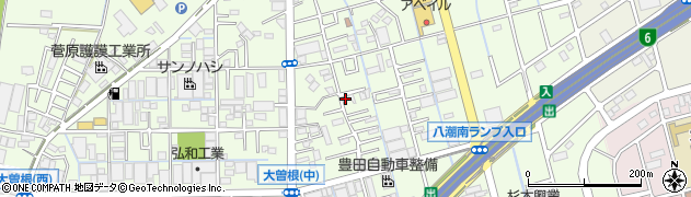 埼玉県八潮市大曽根周辺の地図