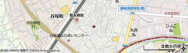 埼玉県草加市谷塚周辺の地図
