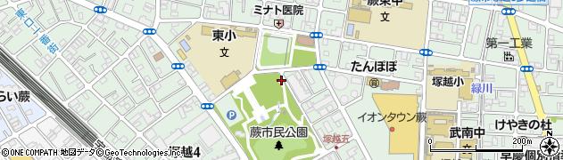 埼玉県蕨市塚越周辺の地図