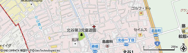 埼玉県草加市北谷周辺の地図