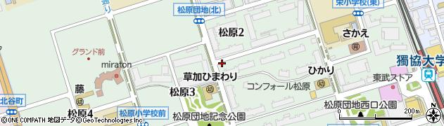 埼玉県草加市松原周辺の地図