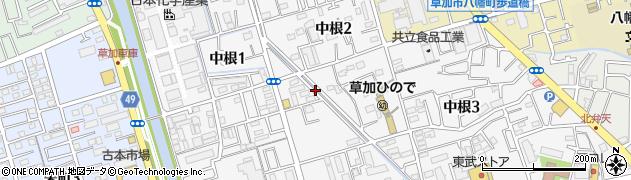 埼玉県草加市中根周辺の地図