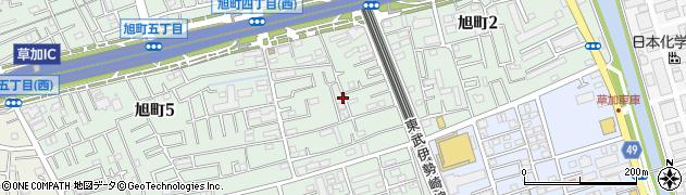 埼玉県草加市旭町4丁目周辺の地図