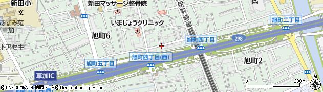 埼玉県草加市旭町周辺の地図