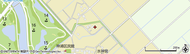茨城県取手市神浦周辺の地図