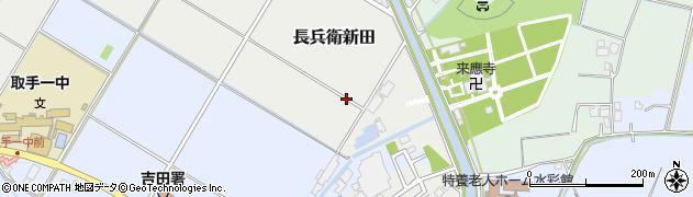 茨城県取手市長兵衛新田周辺の地図