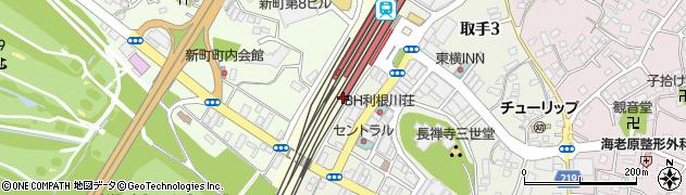 茨城県取手市中央町周辺の地図