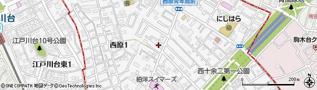 千葉県柏市西原周辺の地図
