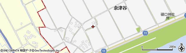 茨城県稲敷市余津谷周辺の地図
