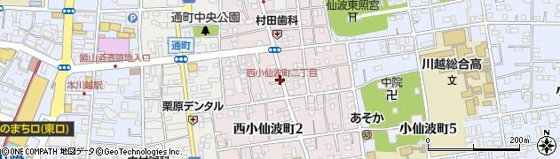 埼玉県川越市西小仙波町周辺の地図