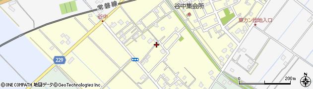 茨城県取手市谷中周辺の地図