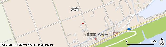 茨城県稲敷市六角周辺の地図