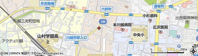 埼玉県川越市六軒町周辺の地図