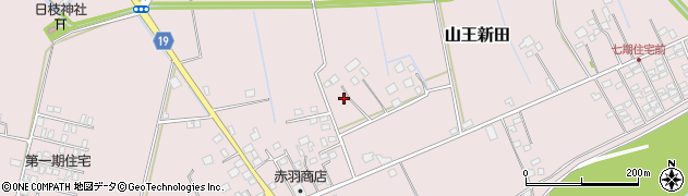 茨城県つくばみらい市山王新田周辺の地図
