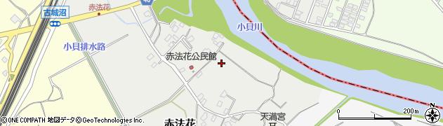 茨城県守谷市赤法花周辺の地図