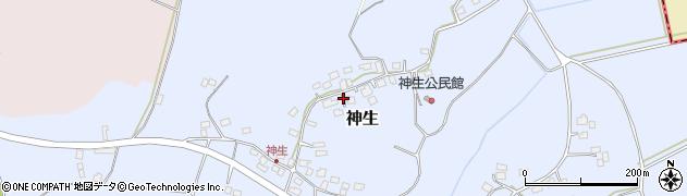 茨城県つくばみらい市神生周辺の地図