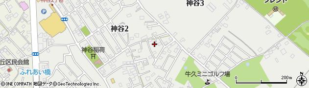 茨城県牛久市神谷周辺の地図