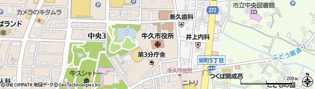 茨城県牛久市周辺の地図