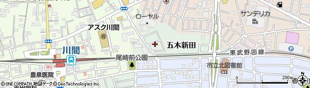 千葉県野田市五木新田周辺の地図