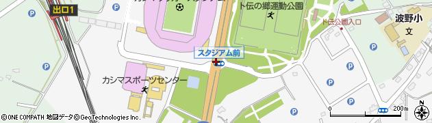 スタジアム前周辺の地図