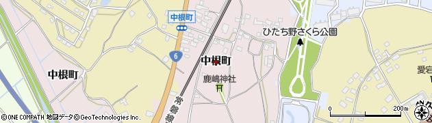 茨城県牛久市中根町周辺の地図