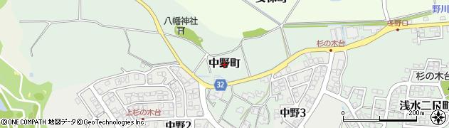 福井県福井市中野町周辺の地図