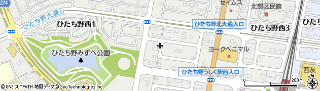 茨城県牛久市ひたち野西周辺の地図