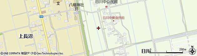 茨城県つくばみらい市日川周辺の地図