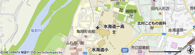 茨城県常総市水海道亀岡町周辺の地図
