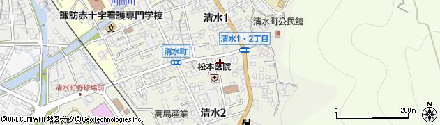 長野県諏訪市清水周辺の地図