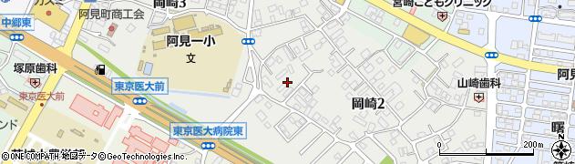 茨城県阿見町(稲敷郡)岡崎周辺の地図